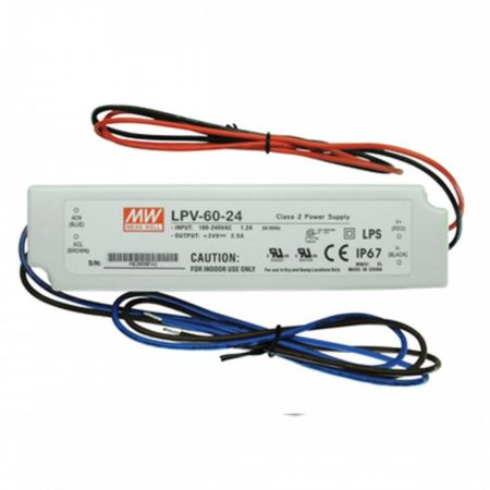 MW LPV-60-24 IP67 162,5x42,5x32 mm 24V DC